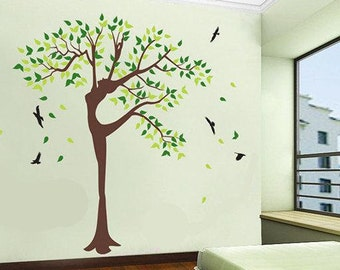 Tree wall stickers wall decals baby nursery decal  wall decor murals graphic- wisdom female tree with birds