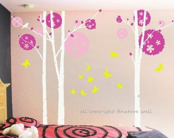 Vinyl Trees wall  Decal Kids wall stickers white baby decal nursery decal room decor  wall art birch decals-Birch tree with butterflies