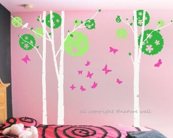 Trees wall  Decal Kids wall decors white baby decal nursery decal room decor  wall art birch decals-Birch tree with butterflies