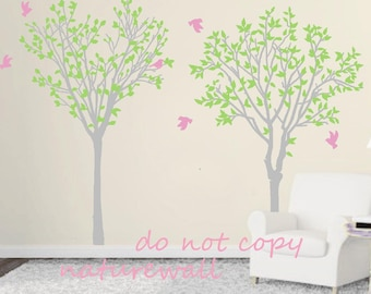 Tree wall decals Kids decals baby nursery room decor  wall decor wall art -lovely tree with birds