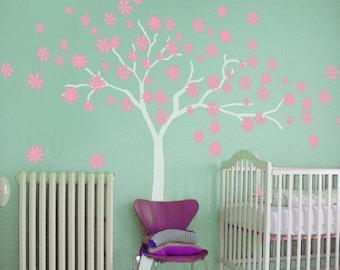 vinyl cherry blossom decals stickers kids wall decals  white girl wall art- Cherry Blossom vines