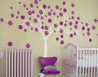 vinyl wall decal  cherry blossom decals stickers kids wall decals  white girl wall art- Cherry Blossom vines