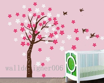 Removable Vinyl wall sticker decal Art - Trailing Cherry Blossom Tree with birds