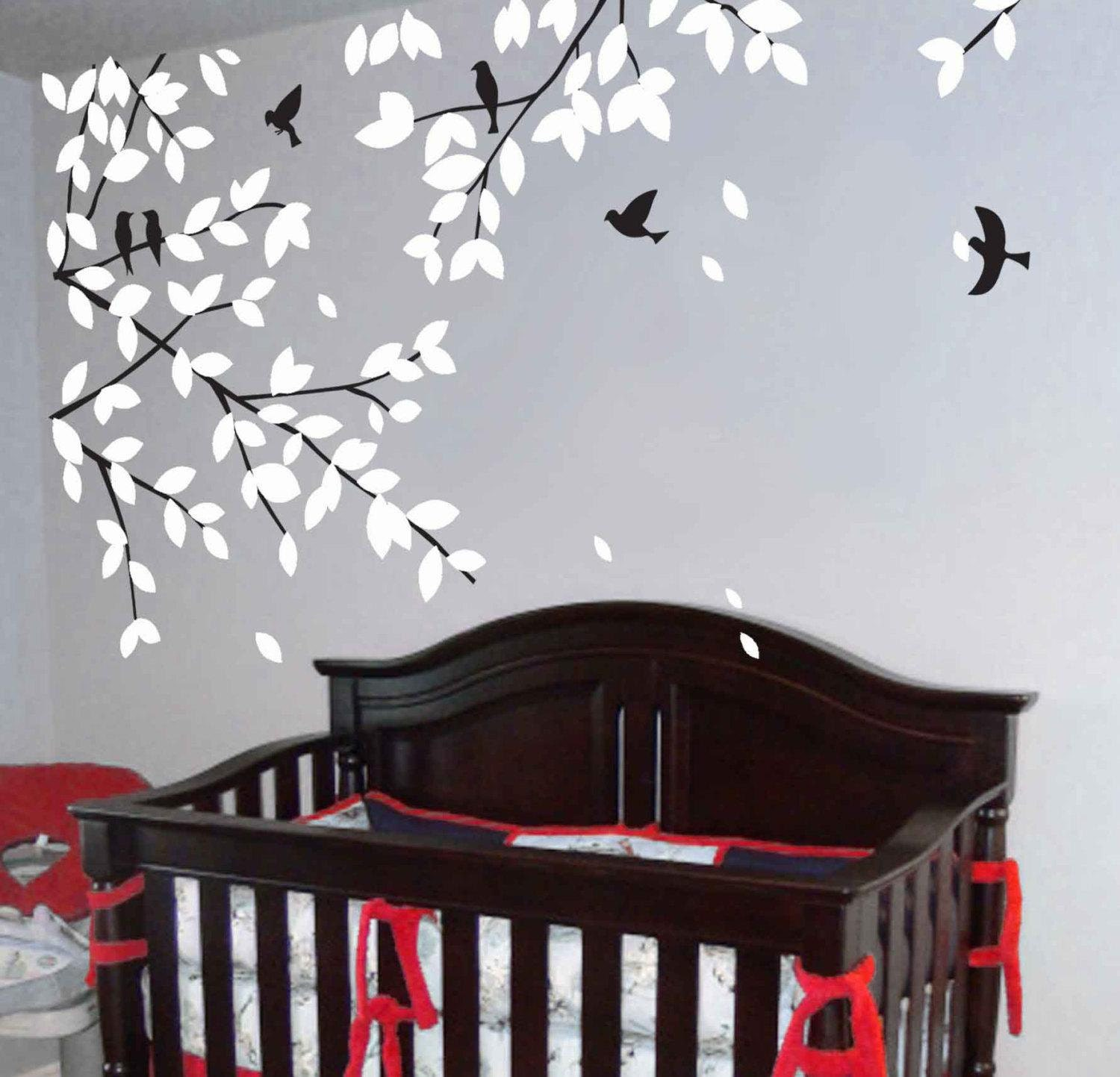 Wall decals tree decals baby nursery kids room decor white for Baby room tree mural