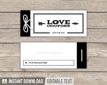 Love Coupon Book - Valentine's Day Gift - Modern Black Design - INSTANT DOWNLOAD - Printable PDF with Editable Text