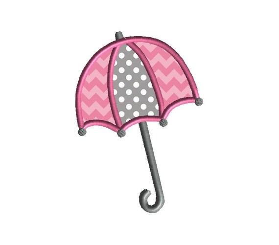 Umbrella applique machine embroidery design instant by