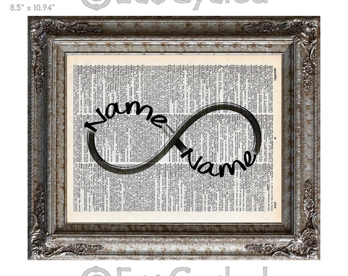 Infinity Symbol Customized with Your Names on Vintage Upcycled Dictionary Art Print Book Art Print Forever Wedding Anniversary Love Romance