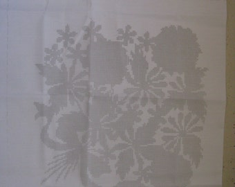 caron stamped cross stich spring bouquet pillow kit polycotton fabric 1981