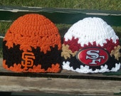 San Francisco 49ers and Giants Inspired Newborn - 3  month size Baby Girl Beanie Set