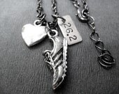 LOVE to RUN 26.2 Marathon - 3 Pendants with Puffed Heart - Running Jewelry - Marathon Running Necklace on Gunmetal Chain - Marathon Training