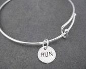RUN Expandable Bangle Bracelet - Sterling Charm with Silver Plated Expandable Bracelet - Runner Expandable Bracelet - Running Bracelet - Run