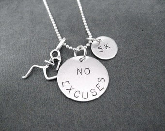 NO EXCUSES Runner Girl DISTANCE Sterling Silver - 16, 18 or 20 inch Sterling Silver Ball Chain - 5k, 10k, 13.1, 26.2, Xc or Run - Distance