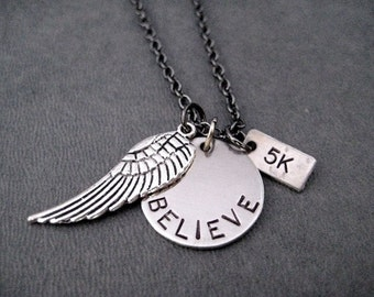 BELIEVE I Can FLY Distance Necklace - 5k, 10k, 13.1, 26.2 or XC - Fly Your Run Necklace - Runners Fly Jewelry - Winged Foot Runner - Flyer