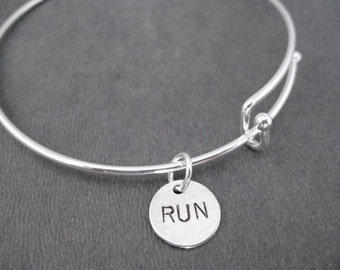RUN Expandable Bangle Bracelet - Sterling Charm with Silver Plated Expandable Bracelet - Runner Expandable Bracelet - Running Bracelet - Run