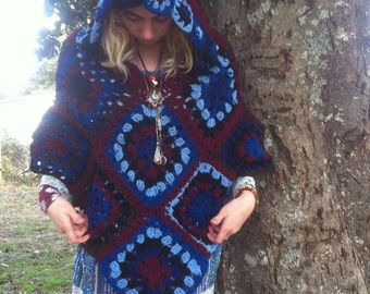 SALE!!!  Hippie Crochet Hooded Gypsy Pixie Grid Poncho