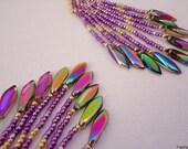 Fringe earrings, beaded earrings, tassel earrings, peyote stitch earrings, blue and silver earrings, peacock colors, rainbow shine earrings