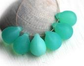 Teardrop beads, briolettes - Matte Opal light Teal Green, Seafoam Green, czech glass drops - 10x14mm - 6Pc - 1091