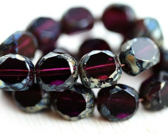 Dark purple beads, Round cut, fire polished, czech glass beads, Picasso beads, Luster  - 8mm - 10Pc - 1702