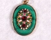 French Victorian  Enamel 18k Yellow Gold Pendant Malachite Floral Jewelry