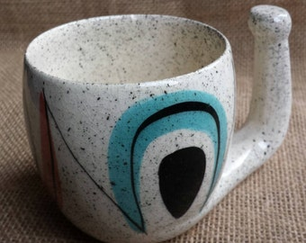 Vintage Handmade Pottery Coffee Mug with Unique Handle