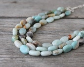 Green Chunky Necklace: Triple Strand Amazonite Beads, Sterling Silver, Natural Jewelry