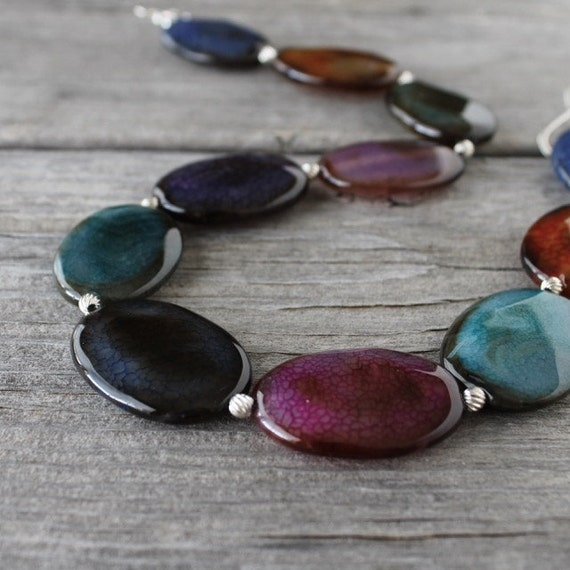 Multicolor Agate Necklace: Chunky Beaded Blue, Pink, Purple, and Orange Stones, Sterling Silver Hook Clasp
