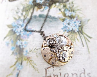 1930's Watch Mechanism & Rose Necklace
