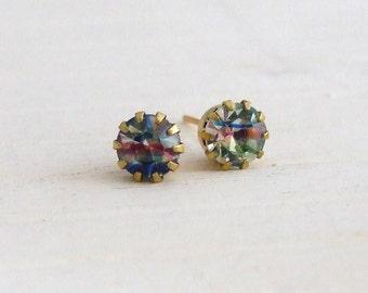 Rainbow Earrings ... vintage glass studs, striped earrings, crystal studs, post earrings, small studs, jewellery