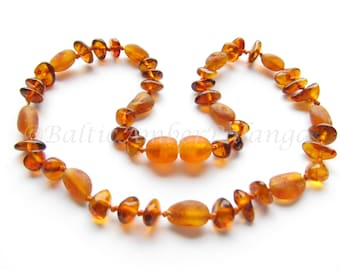 Baltic Amber Teething Necklace, Cognac Color Beads