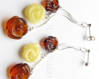 Baltic Amber Dangle Rose Earings