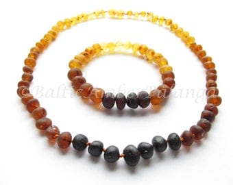 Set Of Raw Unpolished Rainbow Color Baltic Amber Necklace and Matching Bracelet