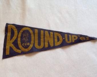 Vintage Cub Scout Round-Up pennant from 1961