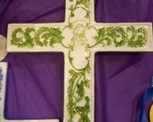 """FREE Shipping in the USA Hand Painted Embossed 12"""" Cross in Green with Face of Jesus Christ"""