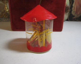 Sweet 1940's-50's unused nos novelty  Princess Eve Perfume Lantern red christmas ornament with 3 metal sold perfume containers inside