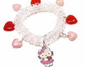 Reserved for Audra Pretty Pink and Red Acrylic Heart Charms with Pink Kitty Floral Charm on Clear Acrylic Triangle Beaded Stretchy Bracelet