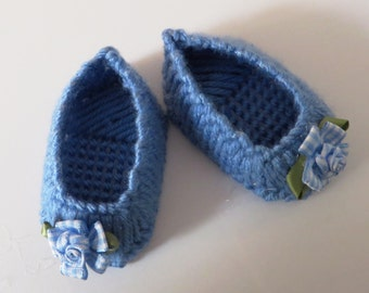 Needlepoint shoes for an American Girl doll.