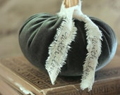 Handmade Silk Velvet Pumpkin (Charcoal Green Color) with Real Pumpkin Stem