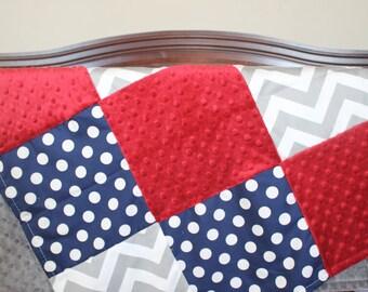 Baby Boy Blanket - Gray Chevron, Navy Dot, and Crimson Minky Patchwork Baby Blanket