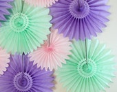 Baby Shower Decorations - 8 Tissue Paper Fans Decor Kit, baby girl, it's a girl, birthday decor