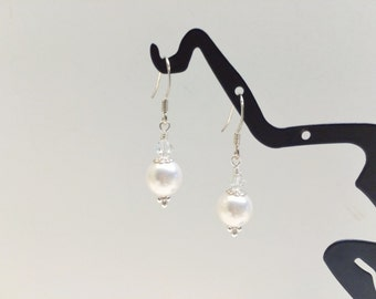Single White Pearl Earrings - FREE SHIPPING