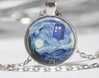 Dr. Who Necklace Tardis Jewelry Starry Night Necklace