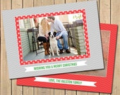 Christmas Card, Wishing You A Merry Christmas Holiday Card - Includes Custom Photo and Colors, 5x7 Double Sided, Chevron Inspired