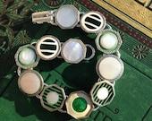Antique Cufflink Bracelet, greens and silver