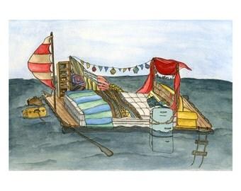 Raft Fort Art Print