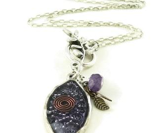 Orgone Energy Leaf Charm Necklace - Orgone Energy Jewelry - Amethyst Gemstone Necklace - Quartz Crystal - Petite Pendant - Artisan Jewelry