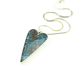 Orgone Energy Pendant - Large Antiqued Silver Heart - Blue with Lapis Lazuli - Artisan Jewelry