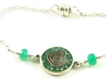 Orgone Energy Petite Stacking Bracelet in Antique Silver with Malachite Gemstone - Delicate Bracelet -Orgone Energy Jewelry -Artisan Jewelry