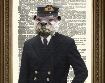 """ADMIRAL OTTER: Navy Animal Anthropomorphism, Vintage Novelty Dictionary Page Antique Art Print (8 x 10"""")"""