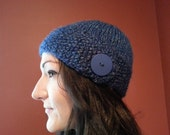 Blue Chunky Button Flap Hat
