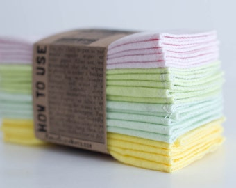 Cloth Wipes, Cloth Diaper Wipes,  Reusable Cloth Wipes - Nursery Set - (Solid Soft Pink, Daiquiri, Mint Green, Yellow) -- Single Layer Wipes